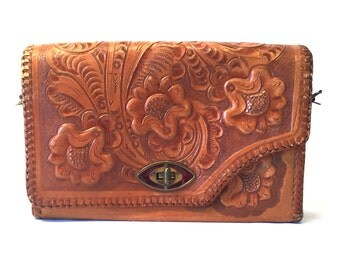 Reversible 1950's Tooled Leather Clutch Purse
