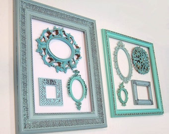 Shabby Chic Picture Frames Picture Frame Set Distressed Frames Ornate Vintage Picture Frames Beach Decor Turquoise Aqua Blue Home Decor