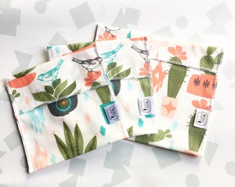 Reusable Ecofriendly Sandwich Bag and Snack Bags - desert blooms - set of 3