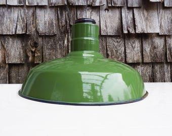 Vintage Industrial Light Shade, 1940s Green Warehouse Pendant Light Shade, Retro Loft Lighting