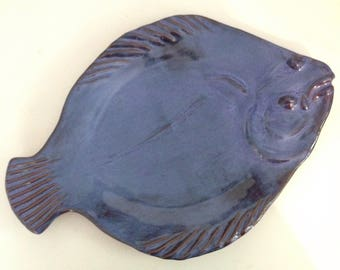"15.5"" Cobalt Blue Gorgeous Flounder/Halibut Serving Platter, or Stunning Wall Decor!"