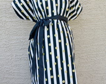 Julian Maternity Hospital Gown - Black and White Stripes with Metallic Gold Dots - Perfect Gender Neutral Gown by Mommy Moxie on Etsy