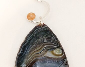 Sterling Silver Agate and Sunstone Moon Pendant