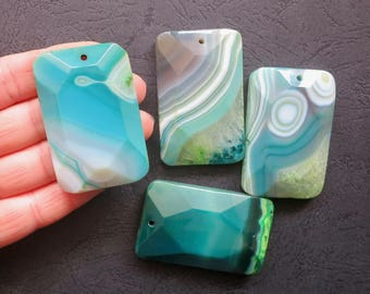 Close Out- AS PICTURED- 4pcs Large Blue Green Stripe Agate Rectangle Pendant 35x55mm- top drilled