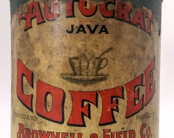 Coffee Tin Autocrat 1900's Antique