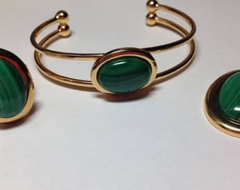 Gold Plated Ring, Bracelet, and Necklace 3-Piece Set with Natural Malachite Cabochons
