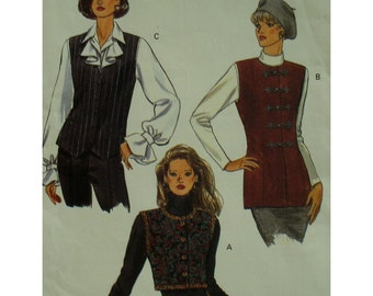 Lined Vest Pattern, Long, Short, Shaped Hem, V-neck, Round Neck, Buttons, Frog Loops, Vogue No. 8795 UNCUT Size 8 10 12