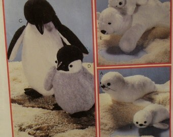"""Penguin, Seal Pattern, Stuffed Toys, Polar Bear Cubs, Mother and Baby, Two Sizes McCalls No. 8509 UNCUT Size 14-27""""(36-69cm) Long"""