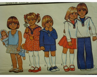 "Child's Unisex Sailor Suit Pattern, Dress, Pleated Skirt, Blouse, Long Sleeves, Pants, Shorts, McCalls No.5963 UNCUT Size 5 (Chest 24"" 61cm)"