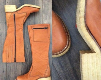 20% OFF 1970's Leather Camper Boots with Gum Sole & Pockets Size 6/ 6.5 Vintage Knee High Boots by Maeberry Vintage