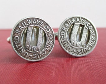 ST. LOUIS 1918 Railway Token Cuff Links - Upcycled Vintage Coins