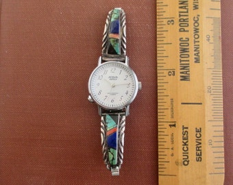 Native American Ladies Wrist Watch - Turquoise, Lapis Lazuli, Onyx & Coral Inlay on Sterling Silver - Signed, Working