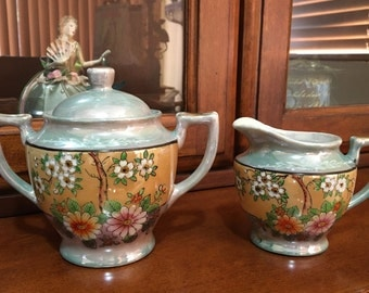 Japanese Vintage Lustreware Cream and Sugar Bowl Set