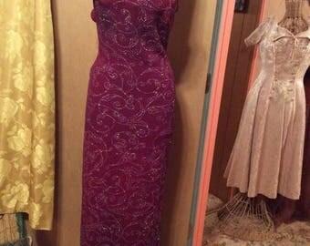 25% Off Sale Vintage 1980s Jump Sparkle Cranberry Evening Gown/USA/Sz 9/10