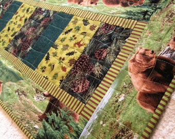 Quilted Rustic Woodland Bear Table Runner