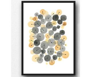 Gray yellow Watercolor painting, abstract watercolor ochre black, minimalist art, geometric circles, interconnected, wall art print