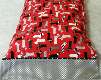 Pillow Case Dachshunds on Red