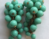 Vintage Zentall Glass Grape Earrings Clip Ons