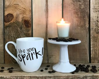"Hand Painted Coffee Cup - Howl's Moving Castle ""I like your spark!"" Quote Coffee Cup Mug : FREE SHIPPING"