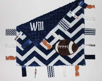 Personalized DOUBLE MINKY Ribbon Tag Baby Blanket with Football and Pacifier Clip, Large 16 x 16, Navy, White, Brown