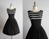 STOREWIDE SALE 50's Black Dress // Vintage 1950's Lace Trimmed Black Embroidered Cotton Garden Party Day Dress S