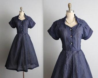 50's Navy Dress // Vintage 1950's Sheer Navy Nylon Garden Party Full Summer Day Dress S M