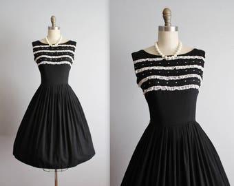 50's Black Dress // Vintage 1950's Lace Trimmed Black Embroidered Cotton Garden Party Day Dress S