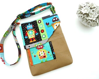 Mini Messenger Bag Slim Little Boy Bag With Adjustable Strap Mini IPad Magazine Sleeve Pouch Bag With Plastic Sleeve & Many Pockets For Book