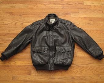 vintage LL Bean A2 leather bomber jacket