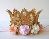 1st Birthday Crown - Gold Baby Birthday Crown - Pink Peach Ivory Flowers - First Birthday Crown - Baby Crown Headband - Princess Crown