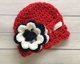 4th of july baby hat, 4th of july outfit, 4th of july prop, red baby hat, newborn baby hat, newborn photo prop, baby girl hat, knit baby hat