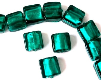 10 teal lampwork glass beads, 12mm x 12mm teal green square, flat square teal green silver foil beads