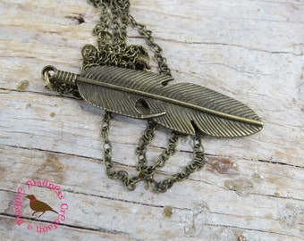 Minimal Bronze Feather Pendant Necklace, Bronze Feather Necklace, Long Brass Layering Necklace, Long Boho, by MagpieMadnessJewelry on Etsy