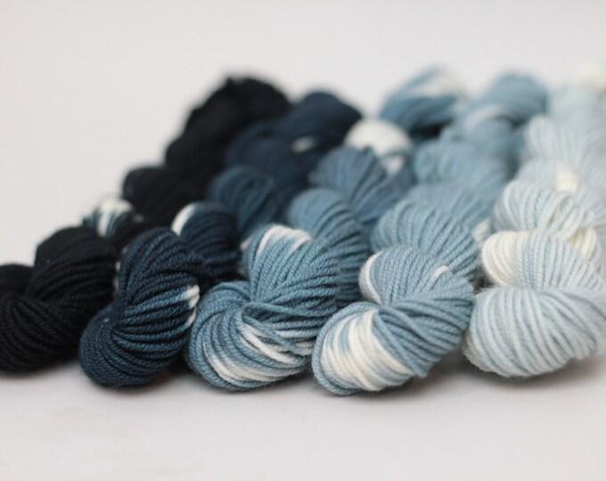 Hand dyed Yarn Superwash Merino DK Mini Skeins, Gradient, 54 yards each skein, Shibori water hues gradient