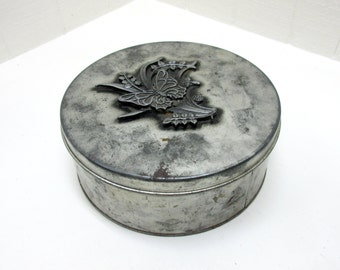 Vintage Tin With Butterfly On Lid