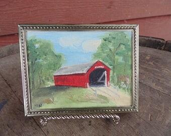 Red Covered Bridge. Oil Painting. Covered Bridge. Miniature Painting. vintage painting. Miniature