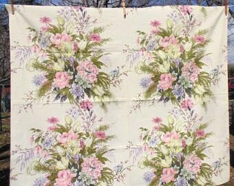 Barkcloth Fabric. Cottage Chic. Barkcloth Remnant. DIY Bark Cloth. enough for 2 large pillow covers 40 x 46. floral barkcloth. Bark Cloth.