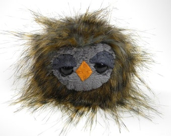 Stuffed Animal Owl Toy - Kawaii Plush Woodland Owlet Miniature Brown Charcoal Grey Stocking Stuffer Cute Little Toy