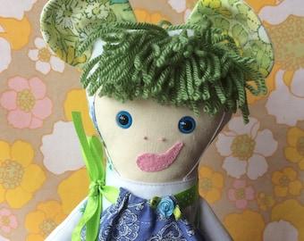 Blythe BearCub,  Teddybear Rag Doll in  green and blue Vintage Fabric,  a Forest Friend by Witty Dawn