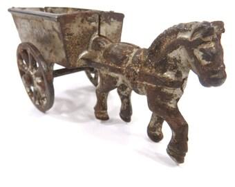 Miniature Cast Iron Horse Drawn Cart Wagon, Primitive Rustic Antique Toy, Farmhouse, Country Decor