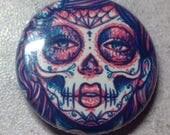 1 inch Pin Back Button - Revive - Day of the Dead Sugar Skull Lady Pop Art Portrait Pinback Button Accessory