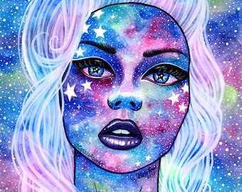Interstella IV Art Print - 5x7, 8x10, or 11x14 - Colorful Outer Space Galaxy Girl Portrait - Lowbrow Pop Art Cosmic Star Girl