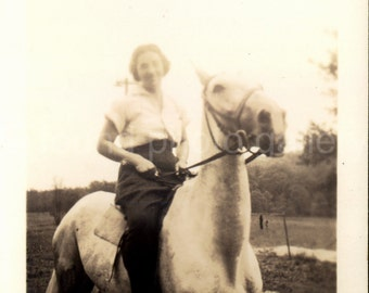 Digital Download, Woman On Horse, Vintage Photo,  Black & White Photo, Printable, Snapshot, Found Photo, Vernacular Photo, Old Photo