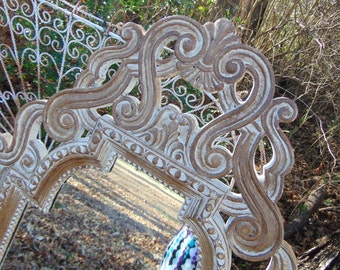 Dressing Mirror, Long Mirror, Curvy Mirror , Vintage Mirror, Size 53 inches Tall, Choose Color