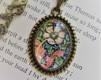 Vintage William Morris Compton Floral Oval Pendant Necklace Antique Brass Glass Craftsman Arts and Crafts Mission Jewelry