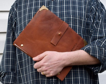 Refillable Leather Notebook for Letter-Size Paper Personalized with Name