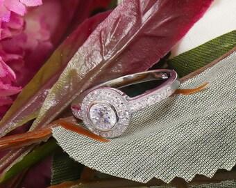 14k white gold round cut diamonds art deco engagement ring, bridal, wedding, anniverary, deco, Bezel Set, Halo, Pave, Band 1.00ctw