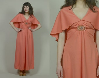 70s Cape Dress Peach Flutter Sleeves Floral BROACH Adornment Capelet Empire Waist Romantic Maxi Dress Boho 1970s Hippie / Size Small Medium