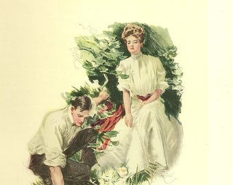 Christy Girl American Girl Victorian Lady and Her Suitor Romantic Color Antique Litho 1906 The American Girl Howard Chandler Christy