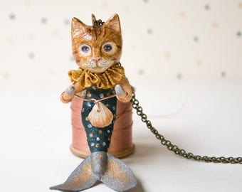 Little mermaid ginger cat spun cotton and clay handmade pendant. Cat lover gift. Birthday present. Cat figurine. Nautical